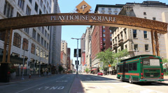 Cleveland Playhouse Square Day Stock Footage