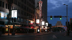 Cleveland Playhouse Square Evening Wide Stock Footage