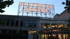 Cleveland Playhouse Square Sign Dusk Stock Footage