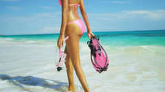 Lower Body Girl Standing Ocean Snorkel Gear Stock Footage