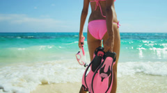 Lower Body Close Up Girl Swimsuit Snorkeling Equipment - stock footage