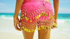 Legs Waist Female Beach Dressed Casual Swimwear - stock footage