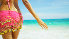 Close Up Female Upper Legs Waist Wearing Beach Swimwear Scarf Stock Footage