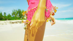 Close Up Female Upper Legs Waist Wearing Beach Swimwear Wrap Stock Footage