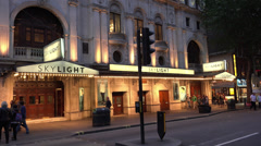 Famous Wyndhams Theatre in London playing Skylight Stock Footage