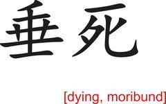 Chinese Sign for dying, moribund Stock Illustration