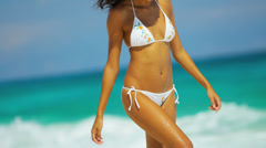 Barefoot Girl Luxury Beach Vacation - stock footage