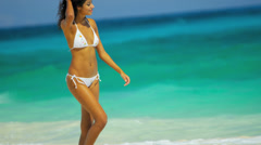 Pretty Girl White Bikini Walking Tropical Beach - stock footage