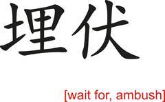 Chinese Sign for wait for, ambush - stock illustration