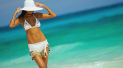 Hispanic Girl White Bikini Tropical Beach Stock Footage