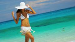 Smiling Latin American Girl Paradise Island - stock footage