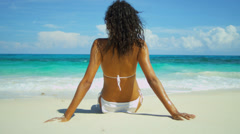 Beach Girl Enjoying Peaceful Island Living Stock Footage