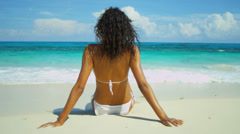 Tanned Girl Enjoying Peaceful Island Lifestyle Stock Footage