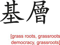Chinese Sign for grass roots, grassroots democracy, grassroots Stock Illustration