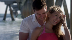 Romantic Beautiful Couple on Beach - Man and Woman on Honeymoon in 4K Stock Footage