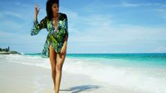 Beach Girl Celebrating Island Living Stock Footage