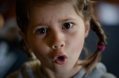 """Angry girl says """"No!"""" - stock photo"""