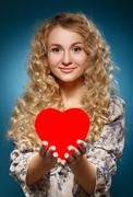 Girl with red heart. concept of valentine's day Stock Photos