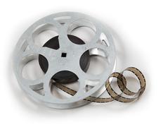8mm film on reel - stock photo