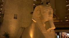 a shot of the sphinx in the luxor pyramid hotel in las vegas - stock footage