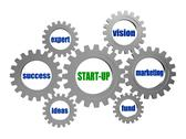 Stock Illustration of start up and business concept words in silver grey gears