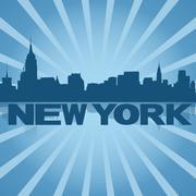 New york skyline reflected with blue sunburst illustration Piirros