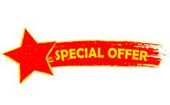 Special offer with star, yellow and red drawn banner Stock Illustration