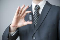 Businessman using car key Stock Photos