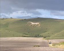 Alton Barnes White Horse,  chalk hill figure in Wiltshire, England Stock Footage