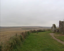 West Kennet Long Barrow, a prehistoric burial mound - pan exterior Stock Footage