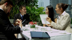 Male Female Multi Ethnic Business Colleagues Rooftop Restaurant Stock Footage