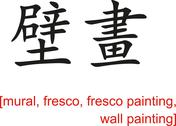 Stock Illustration of Chinese Sign for mural, fresco, fresco painting, wall painting