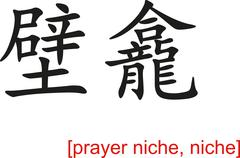 Chinese Sign for prayer niche, niche - stock illustration