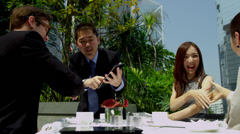 Handshake Ambitious Multi Ethnic Advertising Executives Rooftop Restaurant Stock Footage