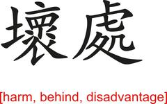 Chinese Sign for harm, behind, disadvantage Stock Illustration