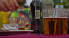 In street cafe of Caravaca de la Crus, Spain. Selective focus. Stock Footage