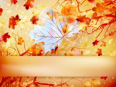 Autumn leave made of triangles. EPS 10 Stock Illustration