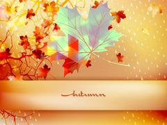 Autumn leave made of triangles. EPS 10 - stock illustration