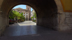 POV. Walking on the streets of Caravaca de la Crus, Spain. Steadycam shot. Stock Footage