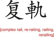 Stock Illustration of Chinese Sign for complex rail, re-railing, railing, rerailing