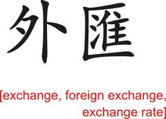 Chinese Sign for exchange, foreign exchange, exchange rate Stock Illustration