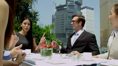Successful Multi Ethnic Bankers Coffee Downtown Office Rooftop Stock Footage