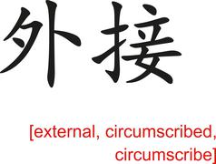 Chinese Sign for external, circumscribed, circumscribe - stock illustration