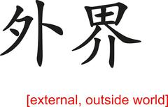 Chinese Sign for external, outside world - stock illustration
