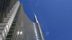 Skyscraper Garibaldi sun on blu sky timelapse Stock Footage