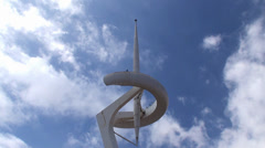 Types of Barcelona. Montjuïc Communications Tower in the Olympic park Stock Footage