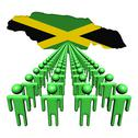 Stock Illustration of lines of people with jamaica map flag illustration