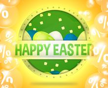 Happy easter modern button Stock Illustration