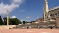 Types of Barcelona. Montjuïc Olympic Park. Stock Footage