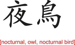 Chinese Sign for nocturnal, owl, nocturnal bird - stock illustration